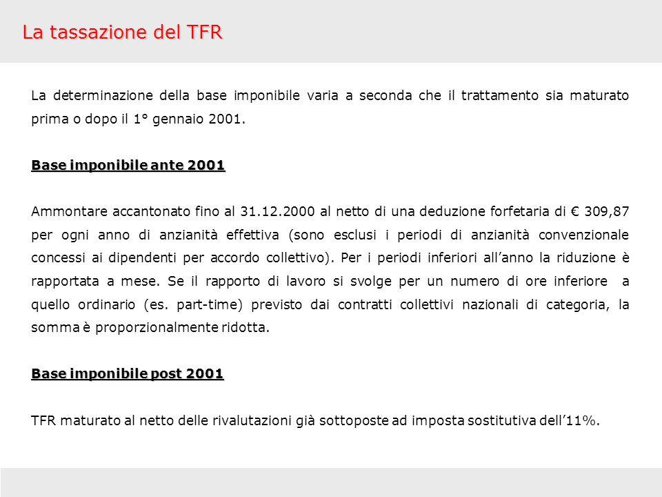 La tassazione del TFR La determinazione della base imponibile varia a seconda che il trattamento sia maturato prima o dopo il 1° gennaio 2001.