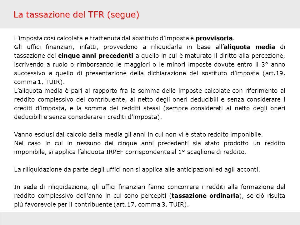 La tassazione del TFR (segue)