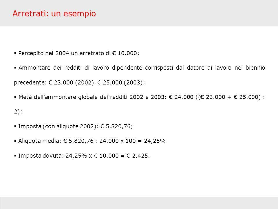 Arretrati: un esempio Percepito nel 2004 un arretrato di € 10.000;