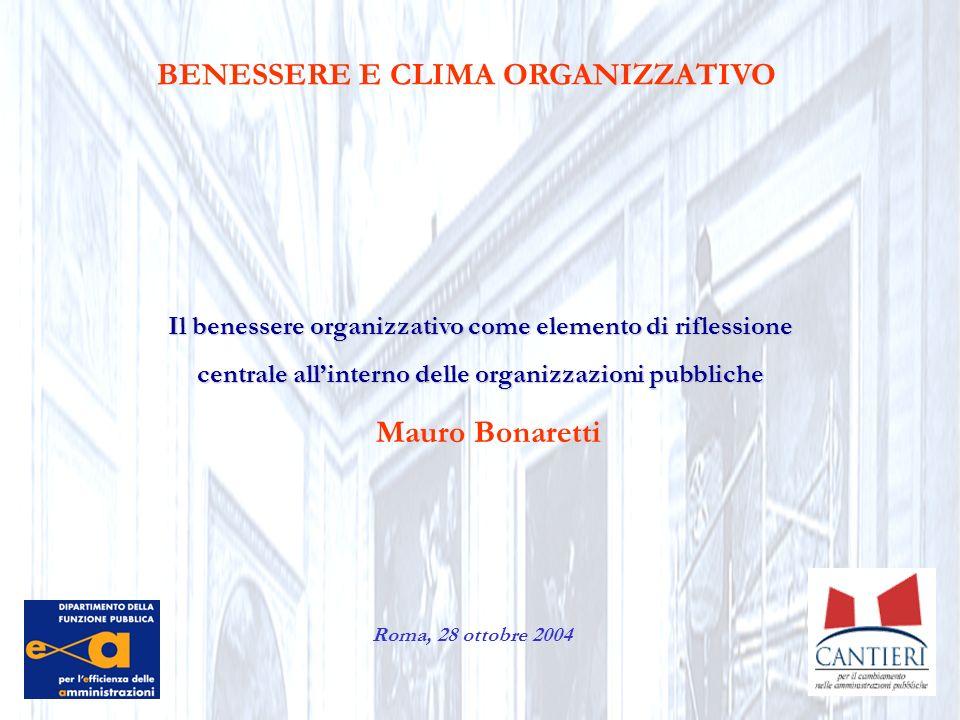 BENESSERE E CLIMA ORGANIZZATIVO Mauro Bonaretti