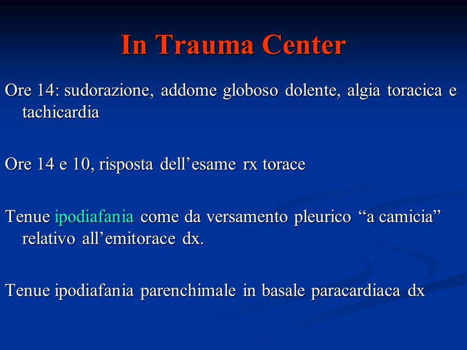 In Trauma Center Ore 14: sudorazione, addome globoso dolente, algia toracica e tachicardia. Ore 14 e 10, risposta dell'esame rx torace.