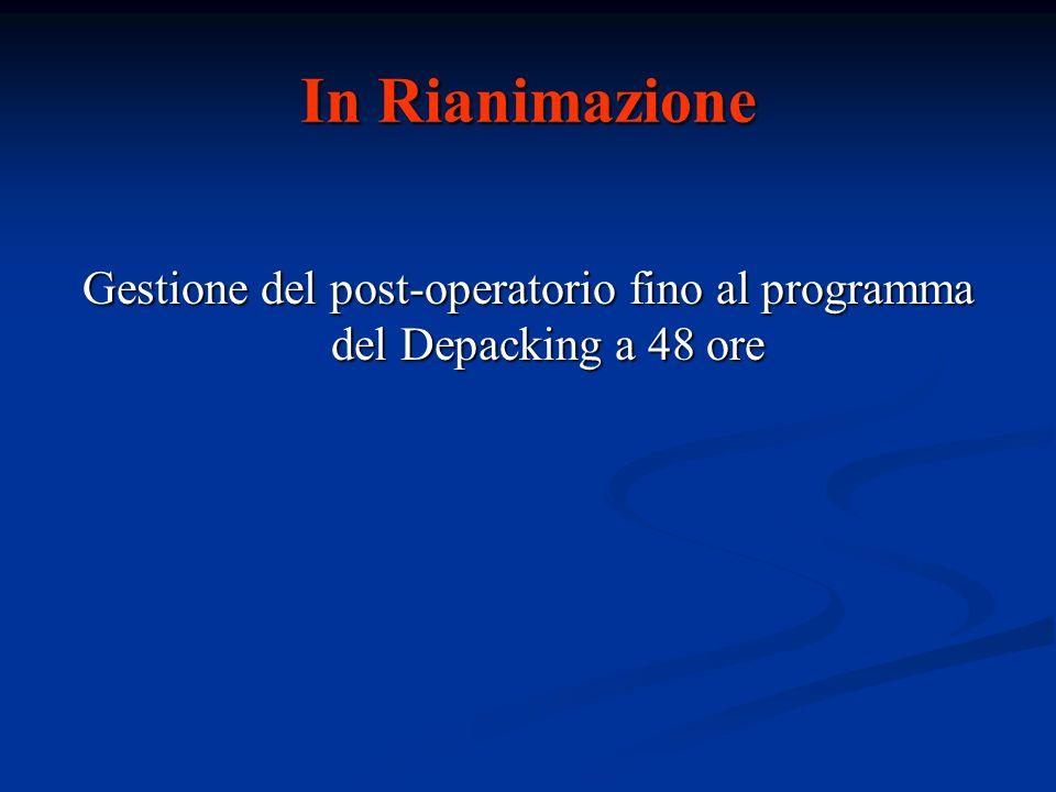 Gestione del post-operatorio fino al programma del Depacking a 48 ore