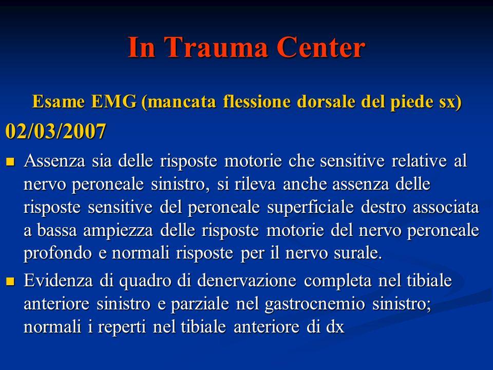 Esame EMG (mancata flessione dorsale del piede sx)