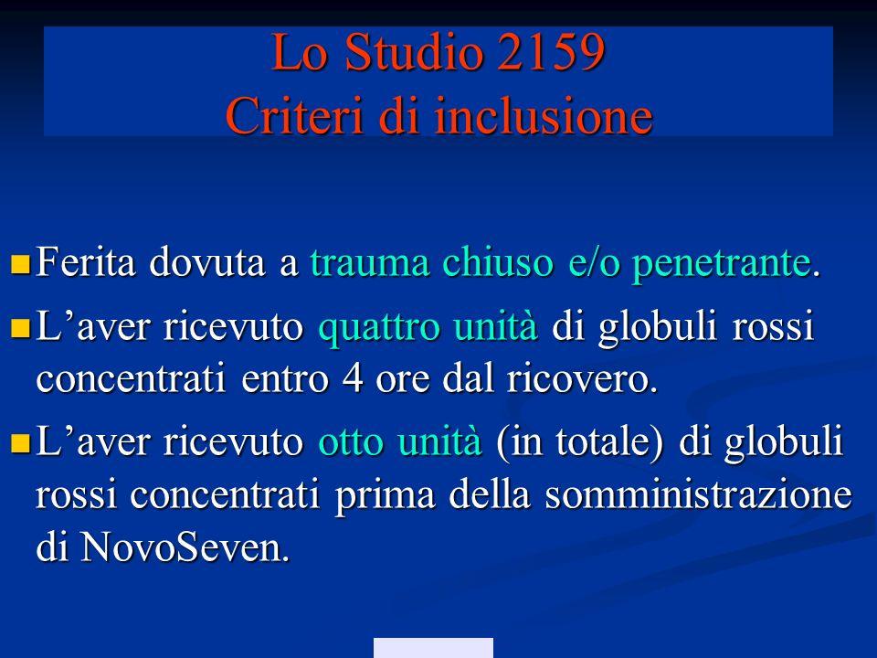 Lo Studio 2159 Criteri di inclusione
