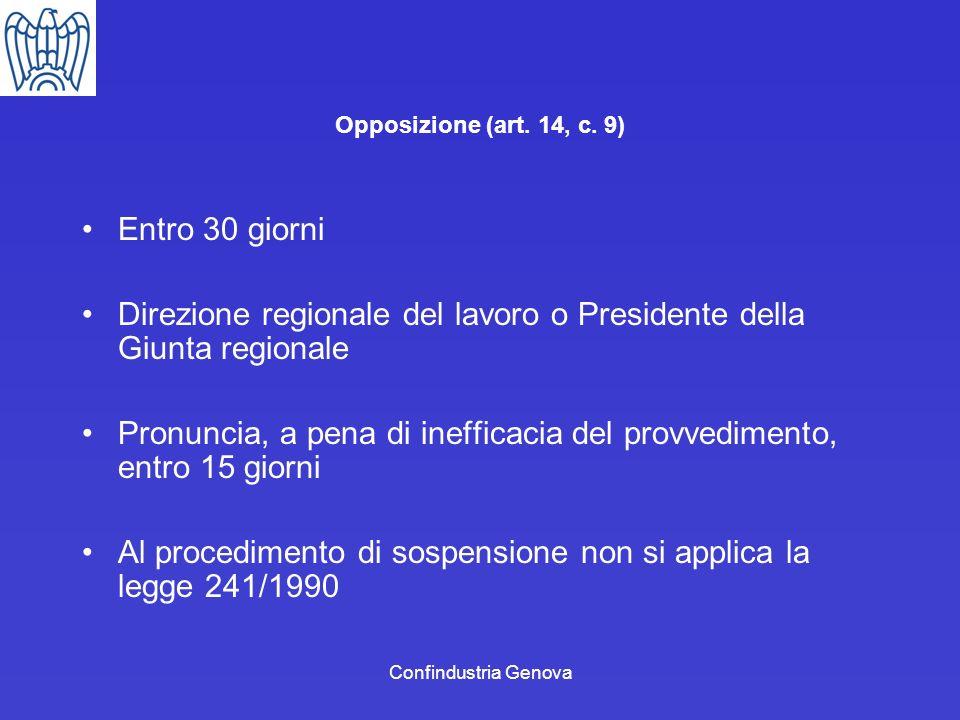Direzione regionale del lavoro o Presidente della Giunta regionale
