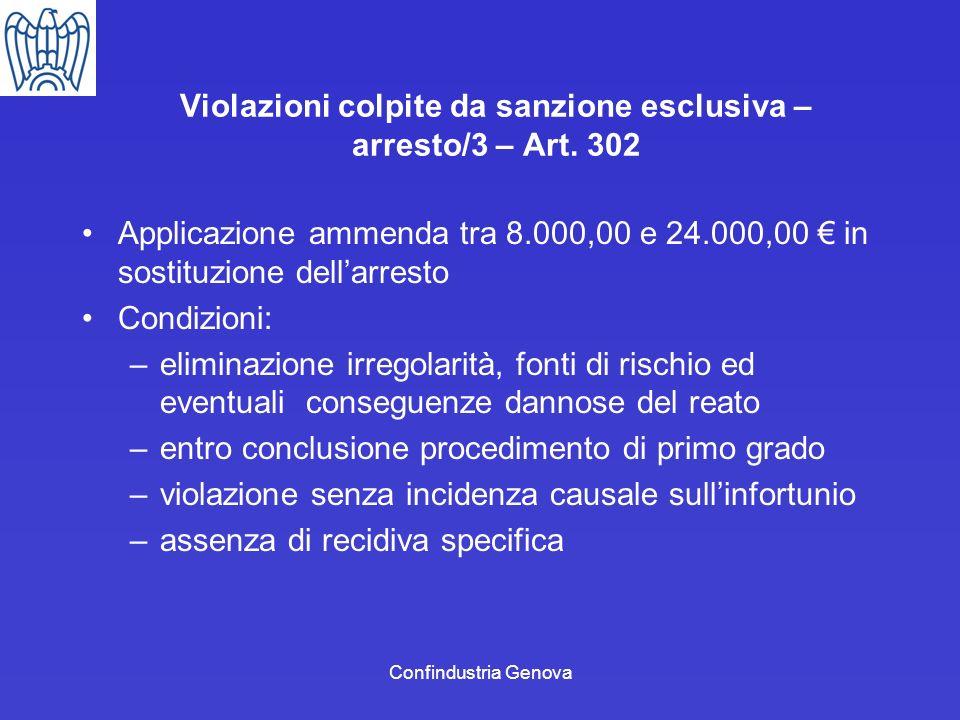 Violazioni colpite da sanzione esclusiva – arresto/3 – Art. 302