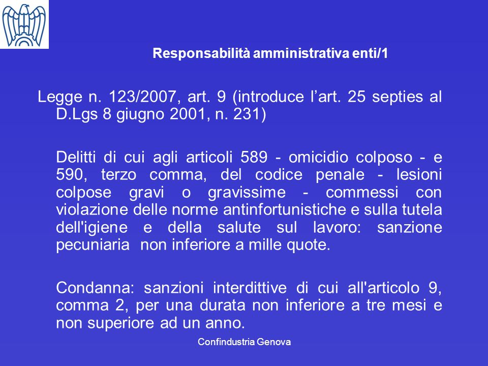 Responsabilità amministrativa enti/1