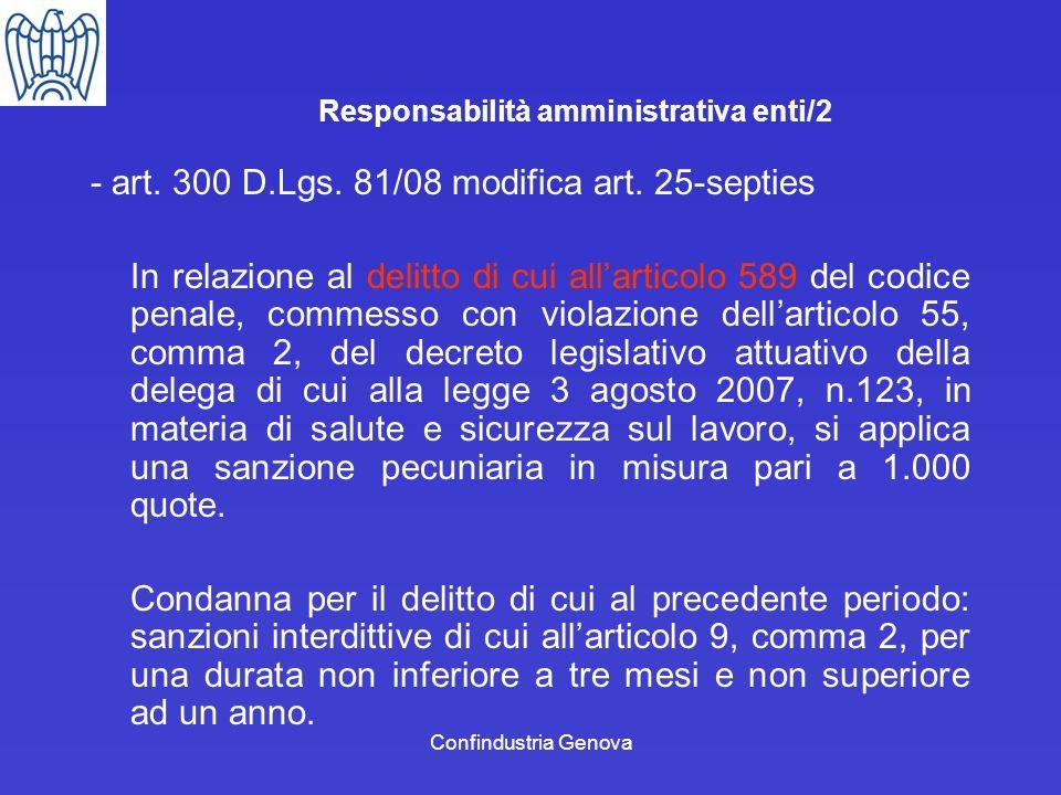 Responsabilità amministrativa enti/2