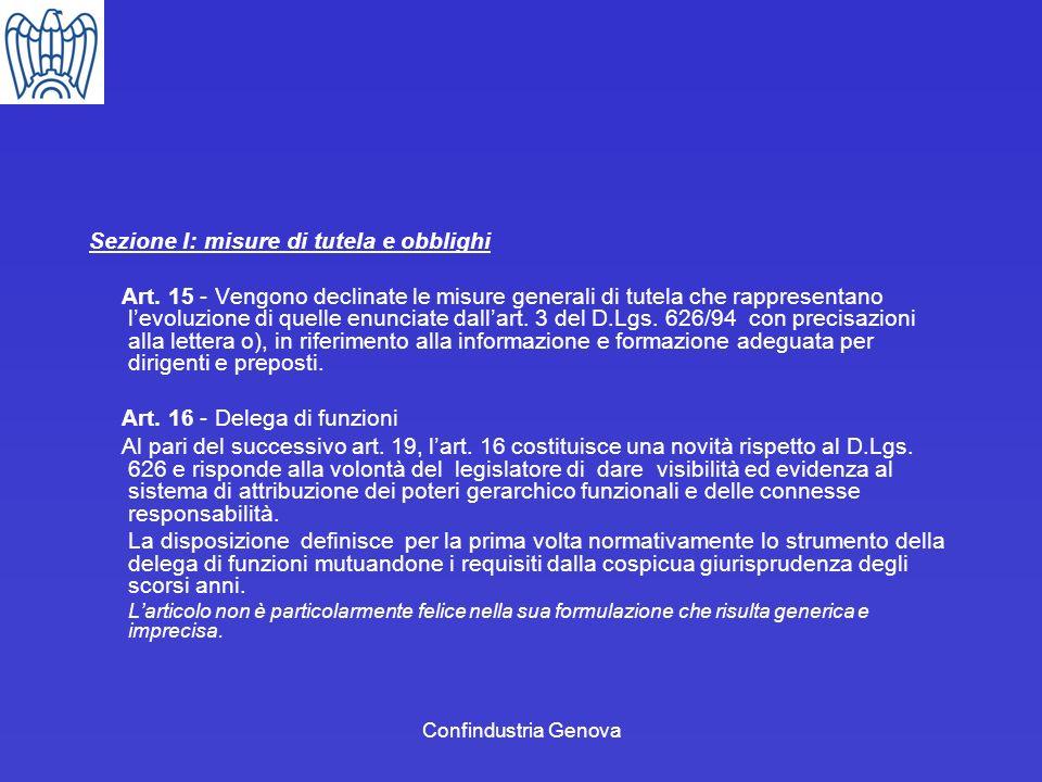 Sezione I: misure di tutela e obblighi