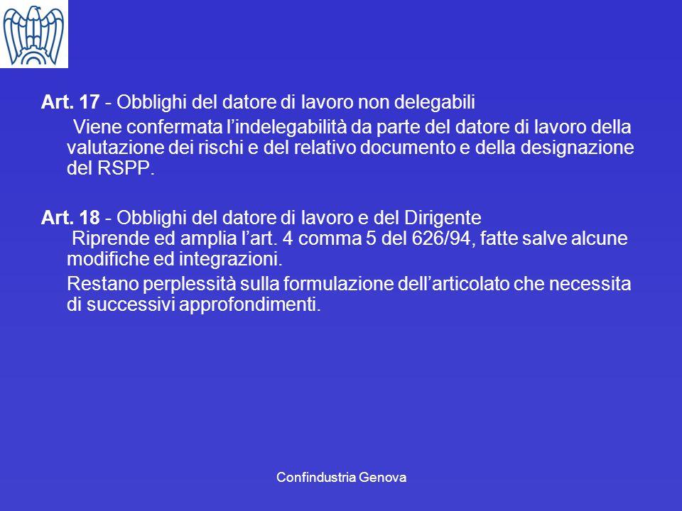 Art. 17 - Obblighi del datore di lavoro non delegabili