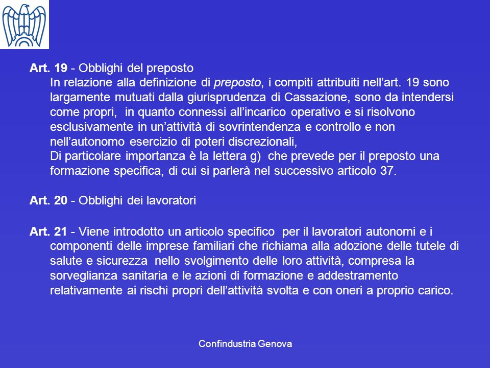 Art. 19 - Obblighi del preposto