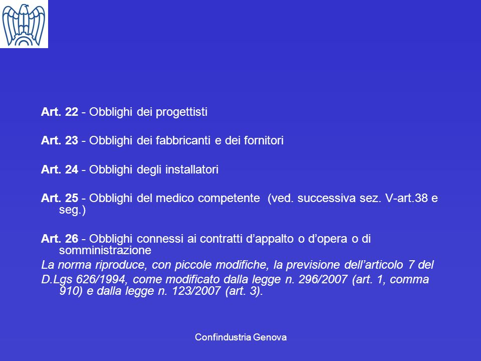 Art. 22 - Obblighi dei progettisti