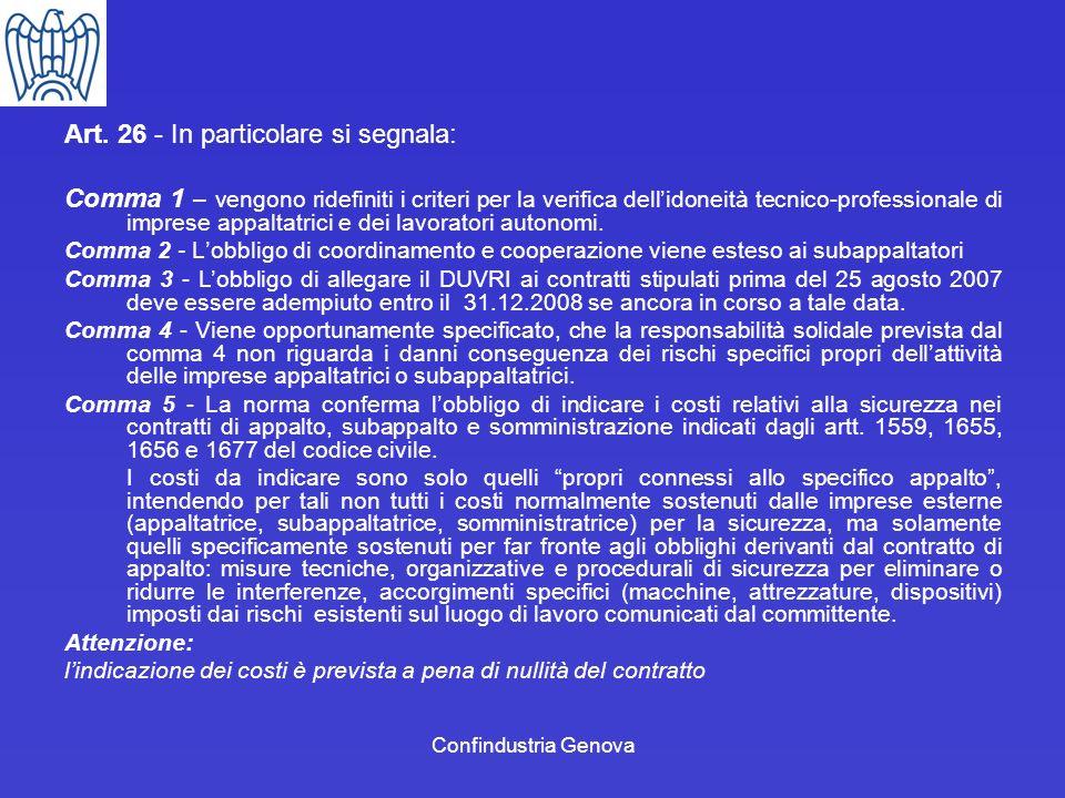 Art. 26 - In particolare si segnala: