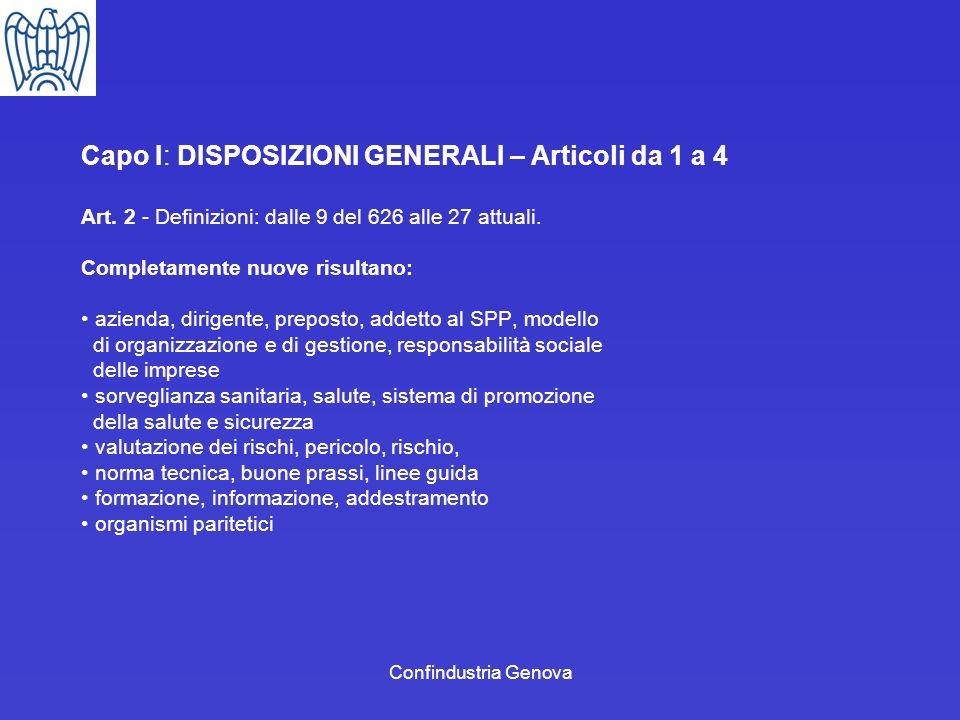 Capo I: DISPOSIZIONI GENERALI – Articoli da 1 a 4
