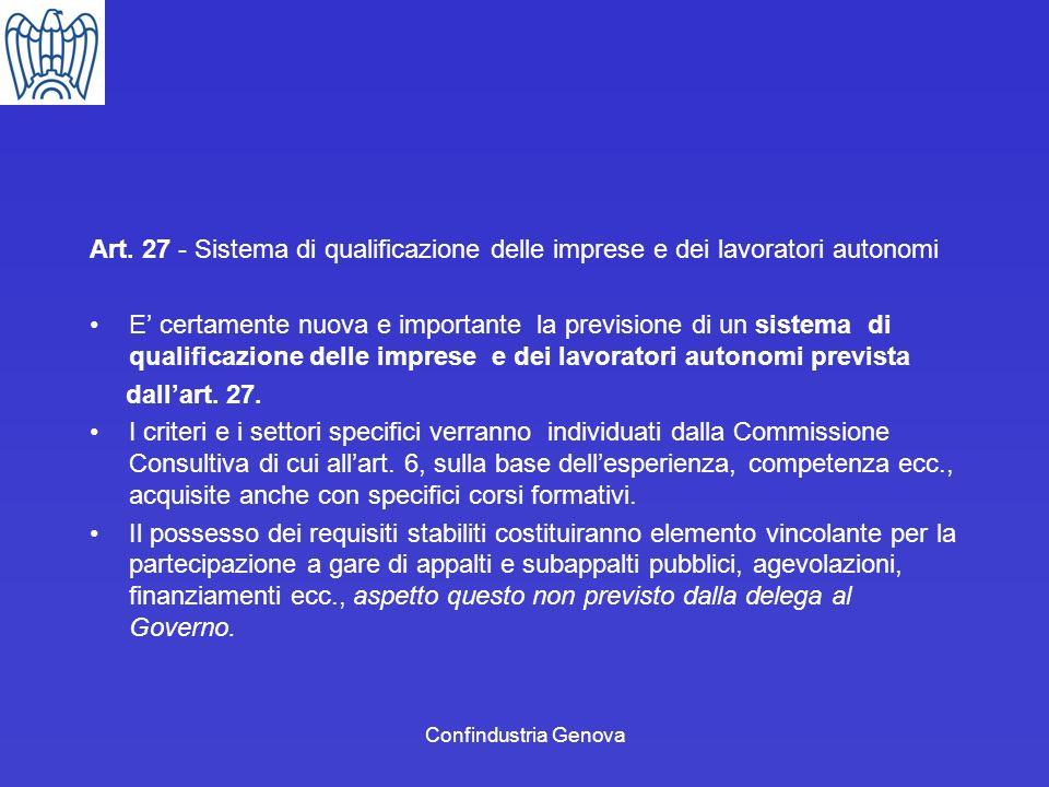 Art. 27 - Sistema di qualificazione delle imprese e dei lavoratori autonomi