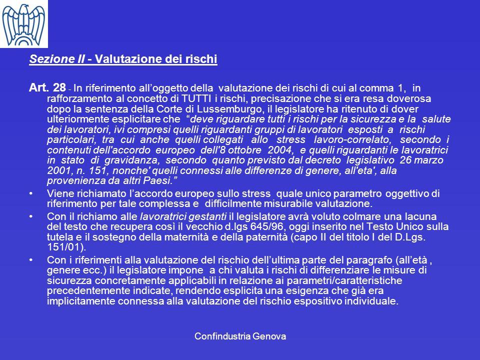 Sezione II - Valutazione dei rischi