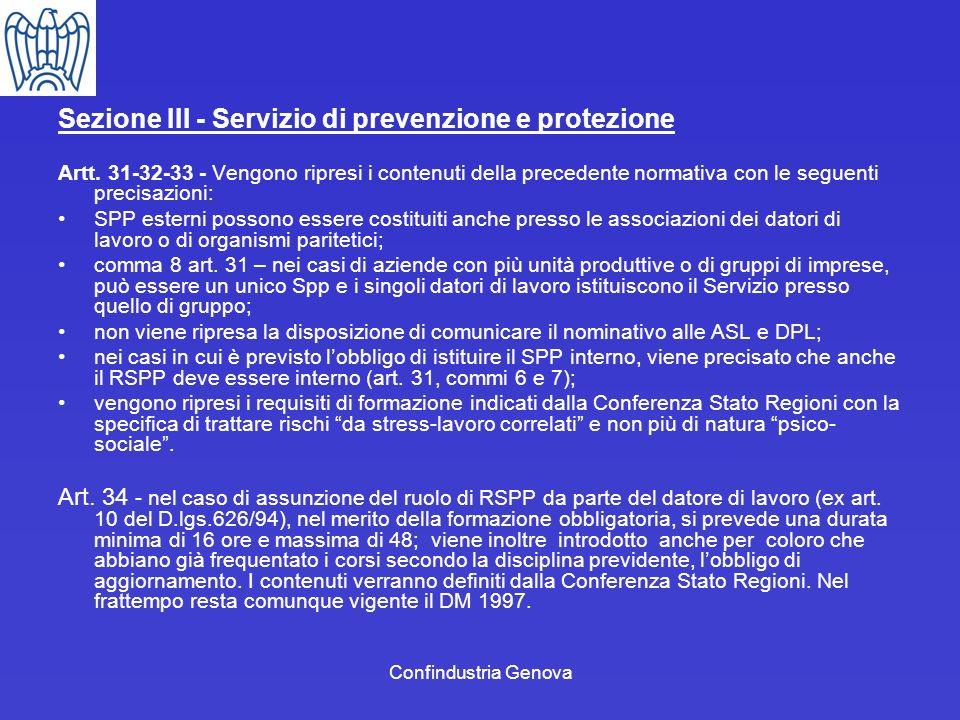 Sezione III - Servizio di prevenzione e protezione