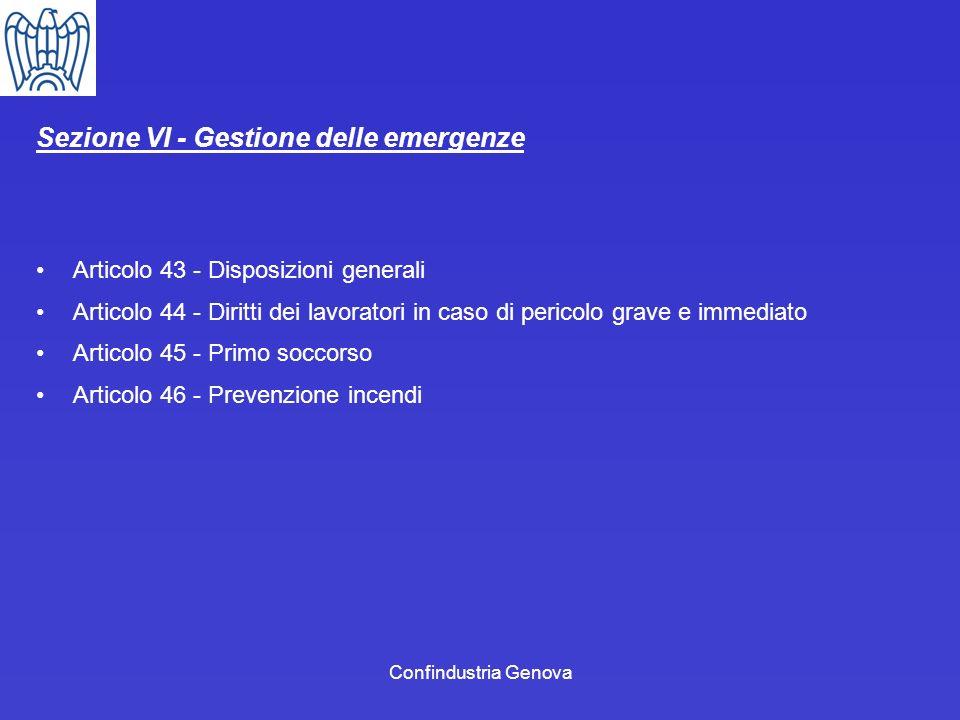 Sezione VI - Gestione delle emergenze