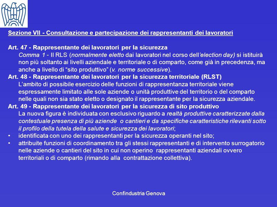 Sezione VII - Consultazione e partecipazione dei rappresentanti dei lavoratori