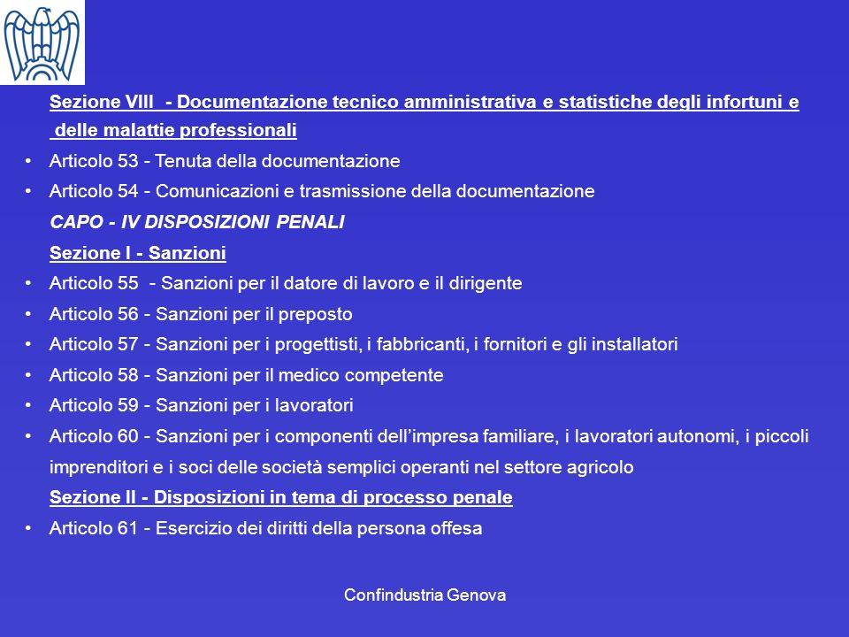 delle malattie professionali Articolo 53 - Tenuta della documentazione