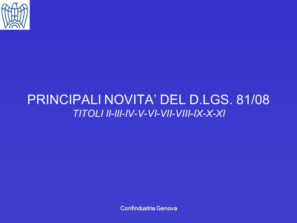 PRINCIPALI NOVITA' DEL D. LGS