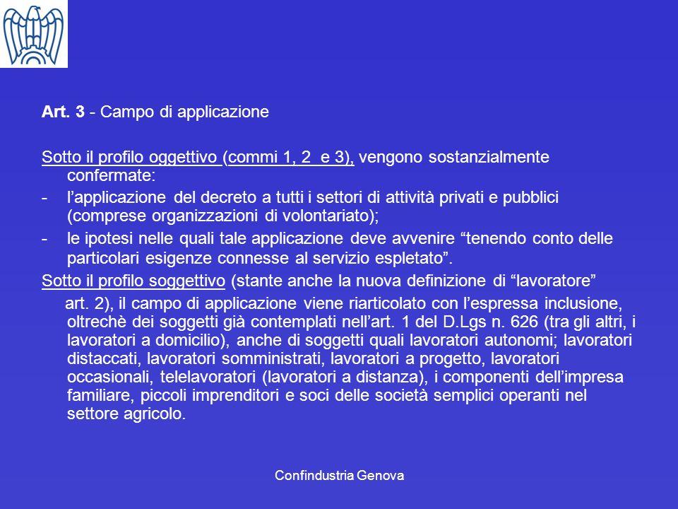 Art. 3 - Campo di applicazione