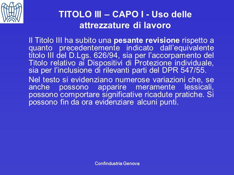 TITOLO III – CAPO I - Uso delle attrezzature di lavoro