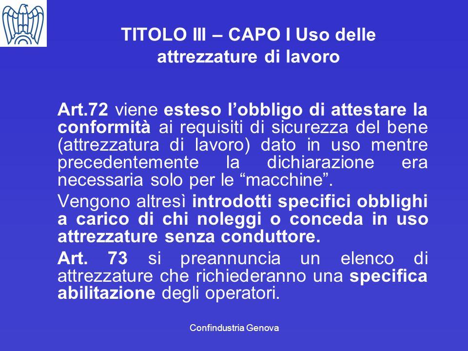 TITOLO III – CAPO I Uso delle attrezzature di lavoro