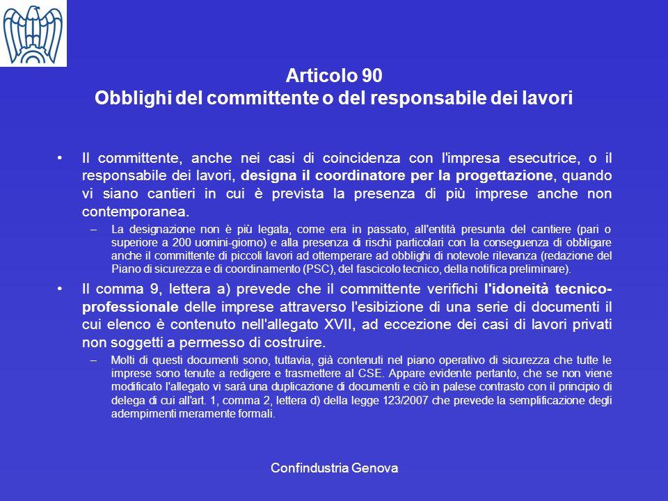 Articolo 90 Obblighi del committente o del responsabile dei lavori