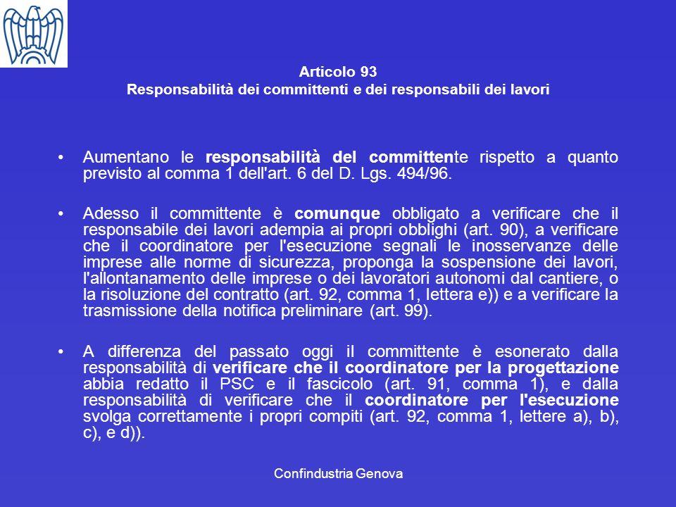 Articolo 93 Responsabilità dei committenti e dei responsabili dei lavori