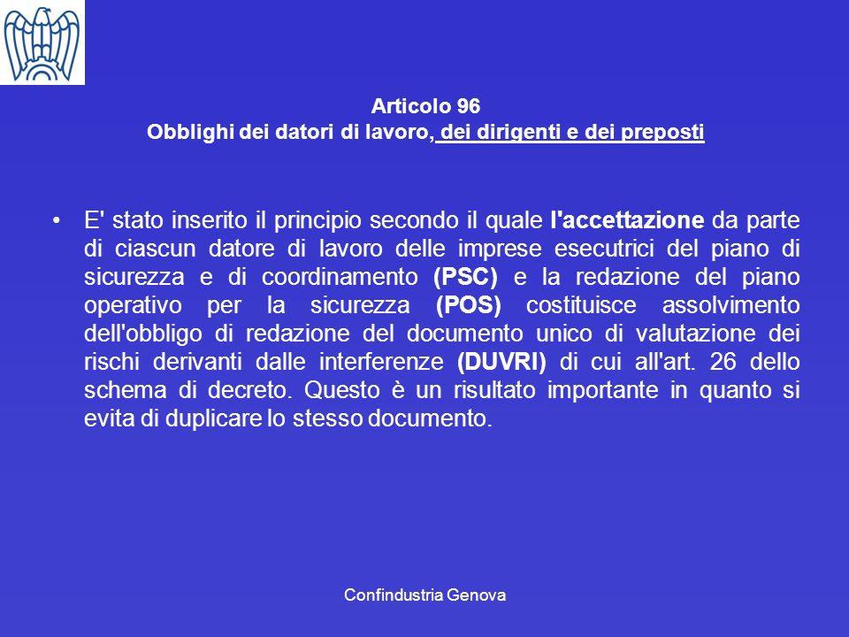 Articolo 96 Obblighi dei datori di lavoro, dei dirigenti e dei preposti