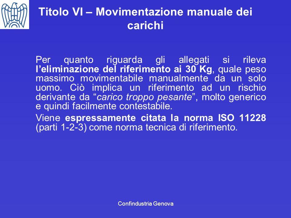 Titolo VI – Movimentazione manuale dei carichi