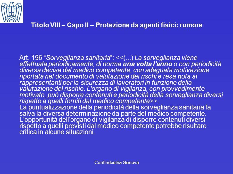 Titolo VIII – Capo II – Protezione da agenti fisici: rumore