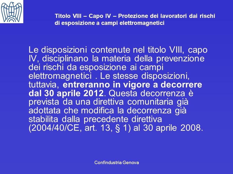 Titolo VIII – Capo IV – Protezione dei lavoratori dai rischi di esposizione a campi elettromagnetici