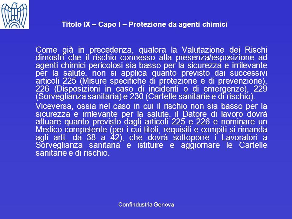 Titolo IX – Capo I – Protezione da agenti chimici