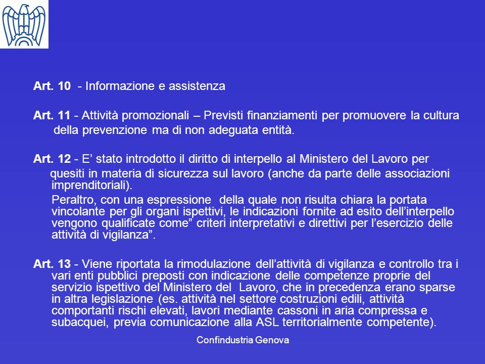 Art. 10 - Informazione e assistenza
