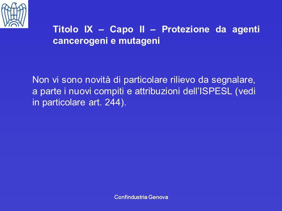 Titolo IX – Capo II – Protezione da agenti cancerogeni e mutageni