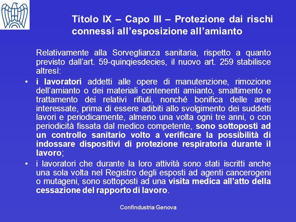 Titolo IX – Capo III – Protezione dai rischi connessi all'esposizione all'amianto