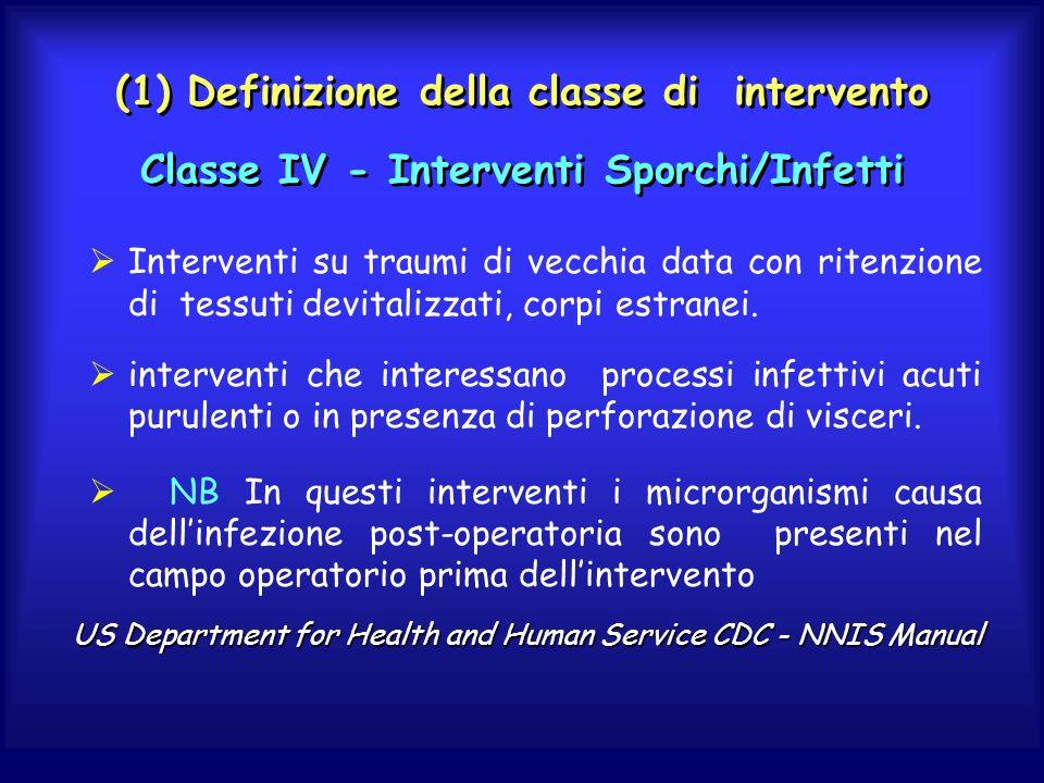 (1) Definizione della classe di intervento Classe IV - Interventi Sporchi/Infetti
