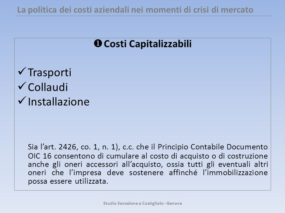La politica dei costi aziendali nei momenti di crisi di mercato