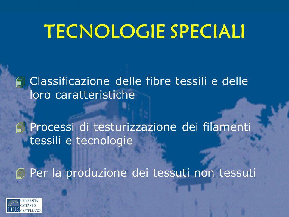 TECNOLOGIE SPECIALI Classificazione delle fibre tessili e delle loro caratteristiche. Processi di testurizzazione dei filamenti tessili e tecnologie.