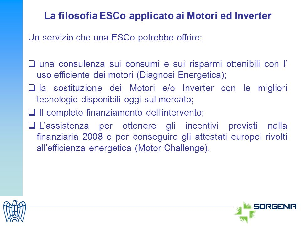 La filosofia ESCo applicato ai Motori ed Inverter
