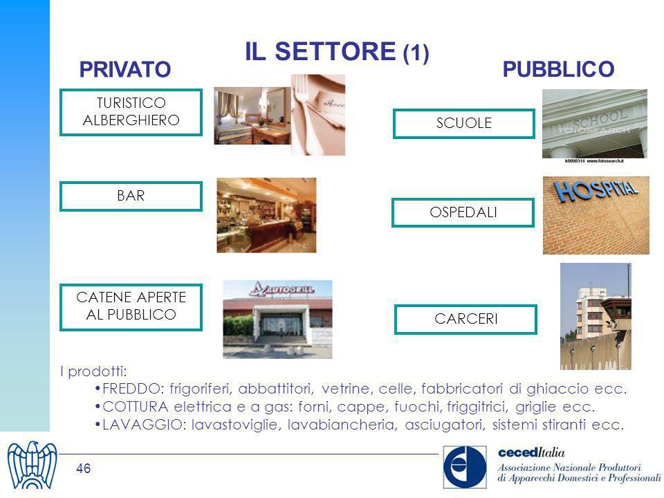 IL SETTORE (1) PRIVATO PUBBLICO TURISTICO ALBERGHIERO SCUOLE BAR