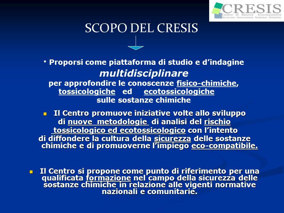 SCOPO DEL CRESISProporsi come piattaforma di studio e d'indagine multidisciplinare. per approfondire le conoscenze fisico-chimiche,