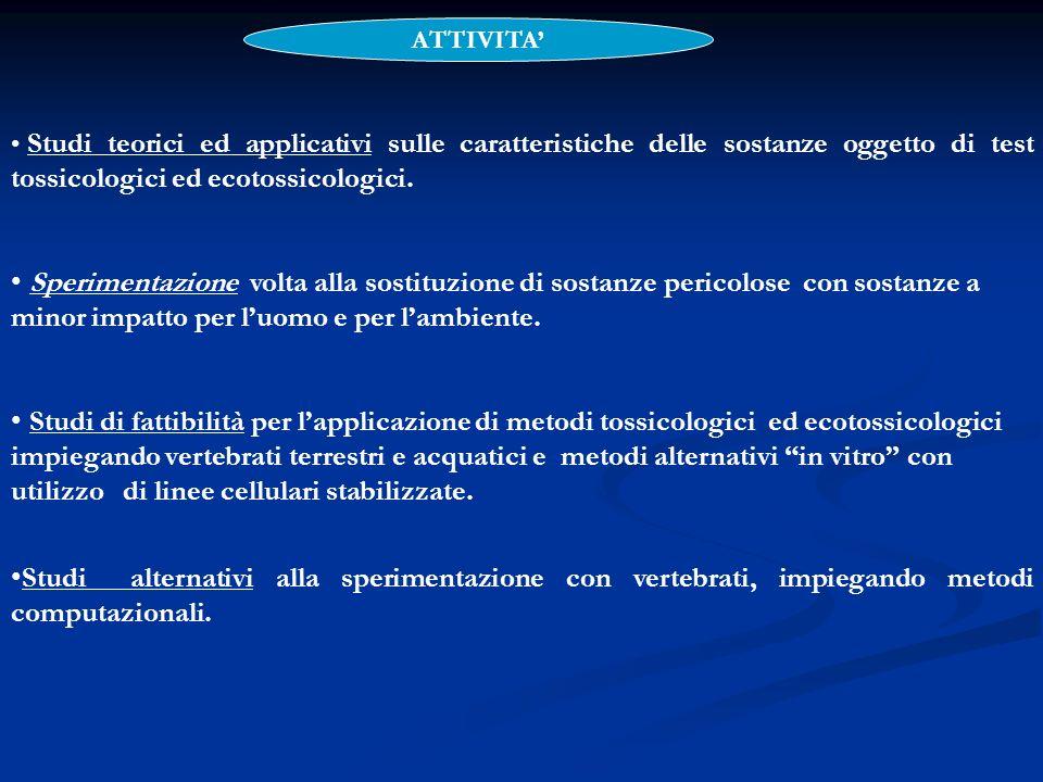 ATTIVITA'Studi teorici ed applicativi sulle caratteristiche delle sostanze oggetto di test tossicologici ed ecotossicologici.