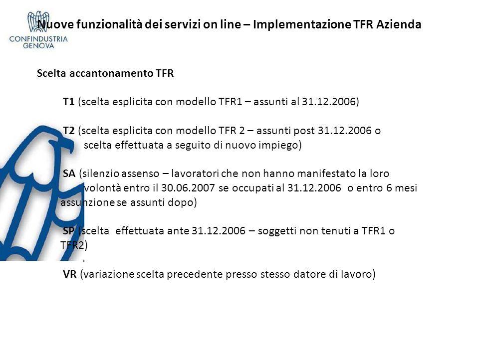 Nuove funzionalità dei servizi on line – Implementazione TFR Azienda Scelta accantonamento TFR T1 (scelta esplicita con modello TFR1 – assunti al 31.12.2006) T2 (scelta esplicita con modello TFR 2 – assunti post 31.12.2006 o scelta effettuata a seguito di nuovo impiego) SA (silenzio assenso – lavoratori che non hanno manifestato la loro volontà entro il 30.06.2007 se occupati al 31.12.2006 o entro 6 mesi assunzione se assunti dopo) SP (scelta effettuata ante 31.12.2006 – soggetti non tenuti a TFR1 o TFR2) VR (variazione scelta precedente presso stesso datore di lavoro)