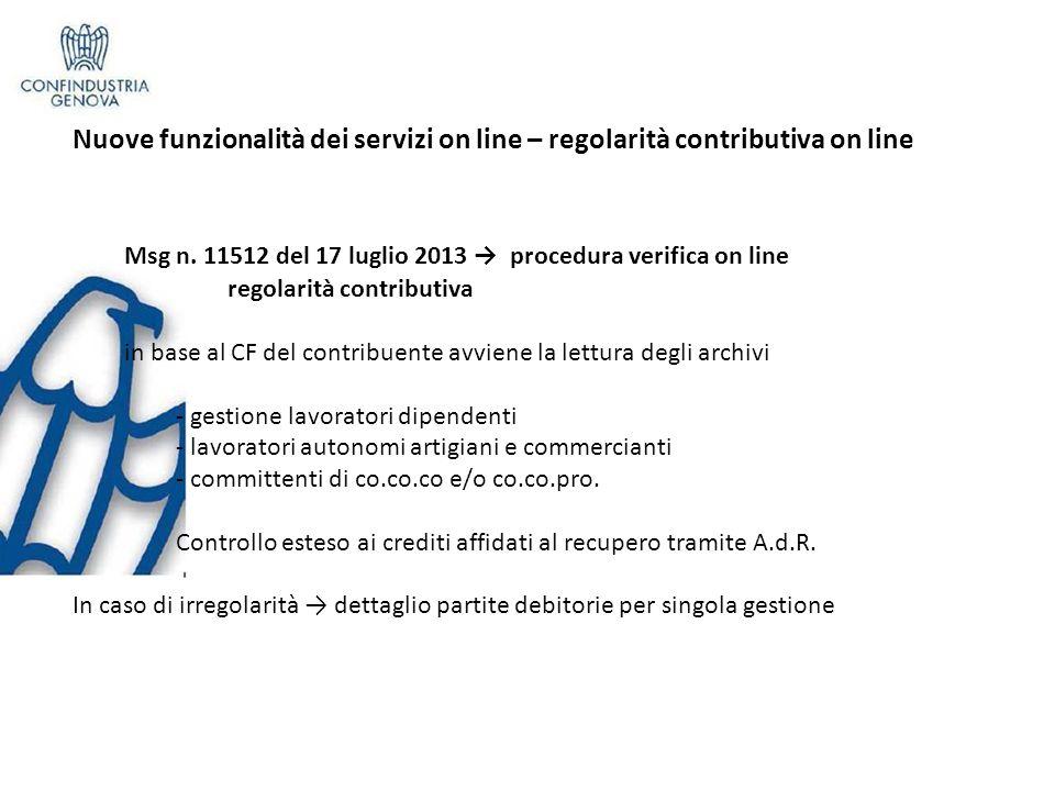Nuove funzionalità dei servizi on line – regolarità contributiva on line Msg n.