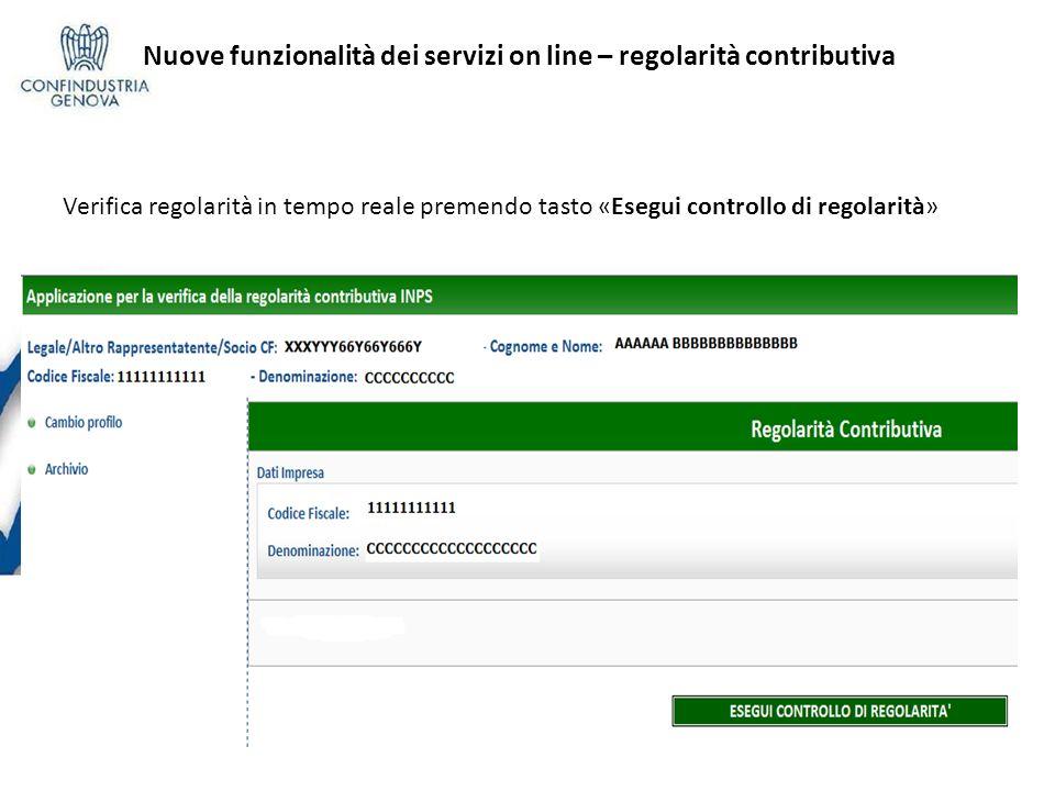 Nuove funzionalità dei servizi on line – regolarità contributiva