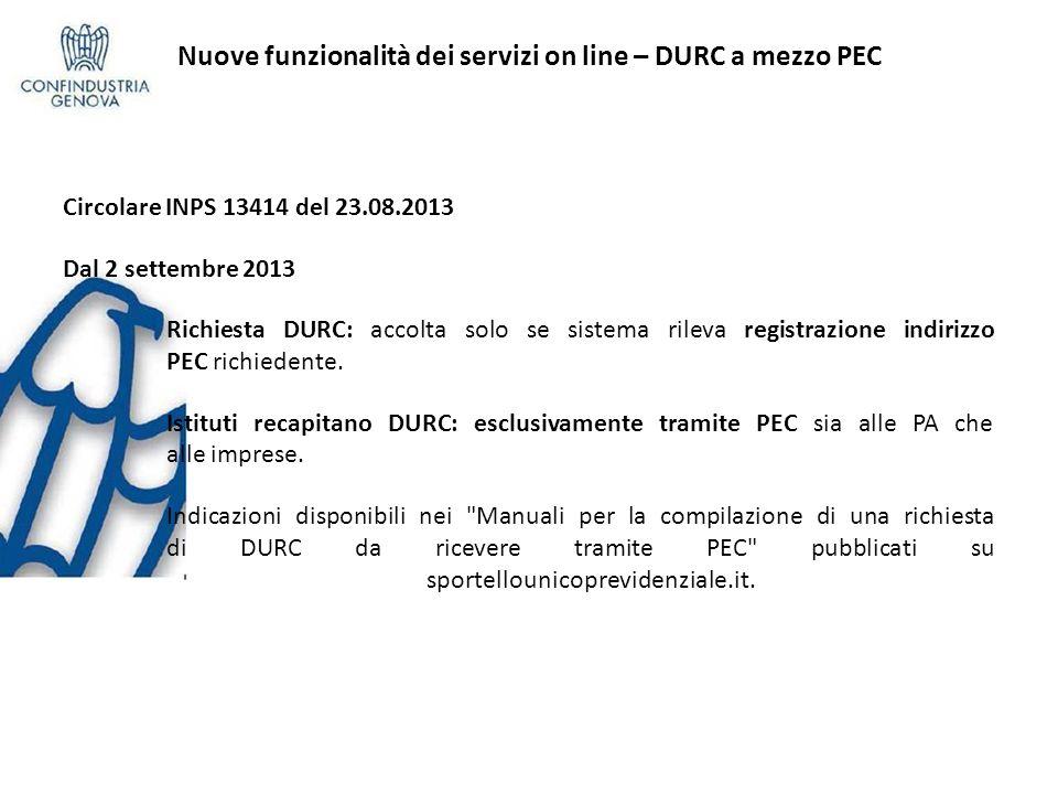 Nuove funzionalità dei servizi on line – DURC a mezzo PEC