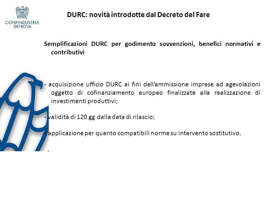 DURC: novità introdotte dal Decreto del Fare